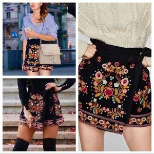 ZARA Embroidered SKORT Wrap SKIRT Shorts XS 2-4